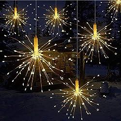 LED Lichterkette, Queta Lichtkette mit Fernbedienung Outdoor Weihnachtslichterkette Batteriebetrieben, explodierendes Feuerwerk, Warmweiß (120 Lichter)