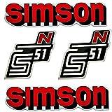 SET: Aufkleber Klebefolie SIMSON S51 N - ROT - für Tank und Seitendeckel von BISOMO®