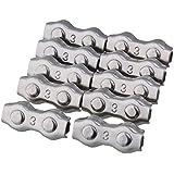 BQLZR plata 304stianless alambre de acero cuerda doble hebilla Clips abrazaderas 10unidades