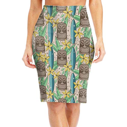 mfsore Tiki Garden Women's \r\nColorful High Waist Bodycon Pencil Skirts Printed Party Skirt,L -