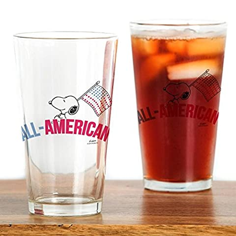 CafePress - Snoopy - All American - Pint Glass, 16 oz. Drinking Glass
