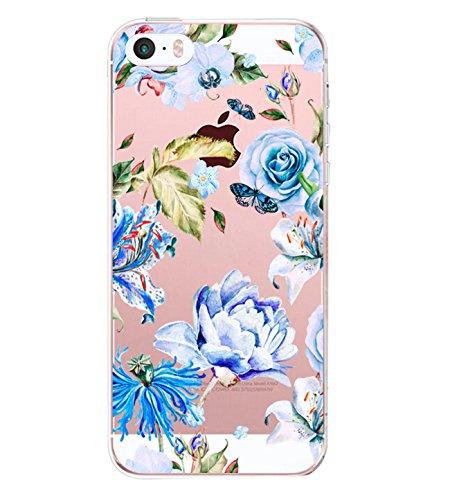 Pacyer iPhone SE Hülle Silikon Ultra dünn Transparent iPhone 5S iPhone 5 Handyhülle Rückschale TPU Schutzhülle für Apple iPhone SE/5S/5 Case Cover Mädchen Elefant Federn (7)