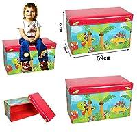 Kids Toys Books Childrens Lid Tidy Large Storage Box Folding Stool Seat Toy Box Boys Girls Chest Clothes (Dinosaur)
