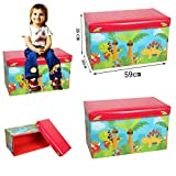 Kids Toys Books Childrens Lid Tidy Large Storage Box Folding Stool Seat Toy Box Boys Girls Chest Clothes (Dinosaur)
