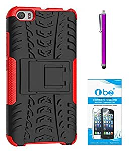 TBZ Hard Grip Rubberized Kickstand Back Cover Case for Xiaomi Mi5 with Stylus Pen and Tempered Screen Guard -Red