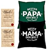 Geschenke Set Weihnachtsgeschenk Mama Papa 2 Motiv Kissen mit Füllung Beste Mama der Welt Bester Papa der Welt Größe 40x40 cm dazu 2 passende Urkunden