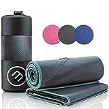 Set da 2 asciugamani in microfibra blu + astuccio per il trasporto | grande per bagno e piccolo per asciugarsi | Con zip per cellulare | portatili, versatili, assorbenti | sport, camping, spiaggia