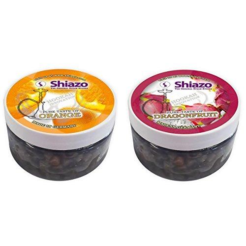 Shiazo Dampfsteine Shisha Mixed Pack, 2 Sorten, Orange, Drachenfrucht Wasserpfeife Stein Granulat Nikotinfreier Tabakersatz