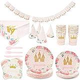 Kit de suministros para fiesta de castillo de princesa panda azul (sirve 24) banderines, manteles, platos, tazas, sombreros, servilletas, cubiertos