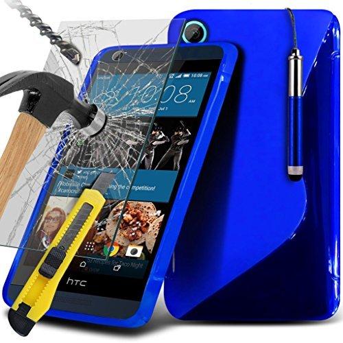 i-Tronixs (blu) per HTC Desire 625 / HTC 626G Desire + / HTC Desire 626G Caso (Dimensioni: 5,78 x 2,79 x 0,32 in) Protezioni Custodia Premium Quality S linea dell'onda del gel cassa della pelle dello schermo della copertura + vetro temperato s, Panno e Mini penna stilo a scomparsa