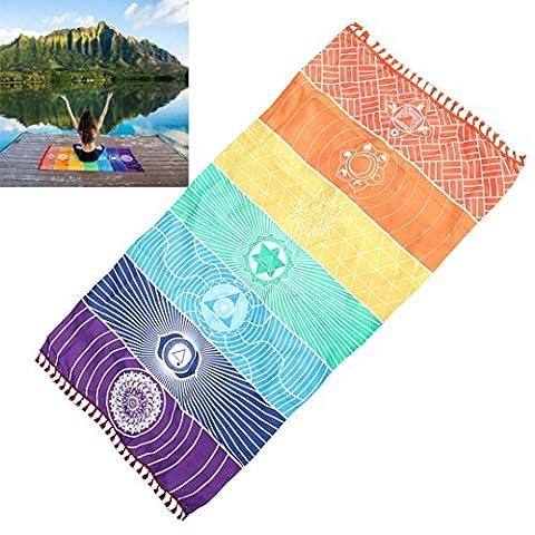 ZycShang Fashion 75x150CM Summer Rainbow Beach Mat Mandala Blanket Wall Hanging Tapestry Stripe Towel