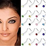 Wicemoon 30 Pcs Stainless Steel S Inlaid Lip Rings Nose Studs Helix Piercing Jewelry for Women