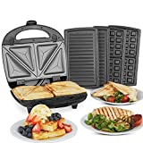 VonShef 3-in-1 Sandwich Toaster, Waffle Maker & Grill | Toastie Maker with Non-Stick