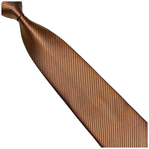 Breite 10cm Krawatte Ocker-Braun gestreift - Seiden-mischung - Gewebte Streifen - Schoko-Braune Kravatte zum Anzug - Herren-Krawatte - Schlips - Binder - von GASSANI MILANO