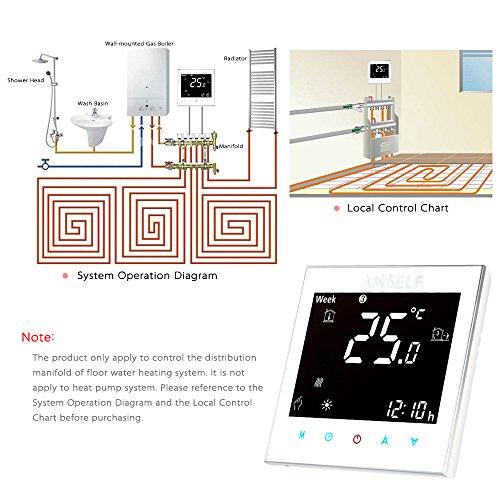Anself Programmierbarer Raumthermostat Temperaturregler mit LCD Touchscreen Fußbodenheizung Wasserheizung - 7