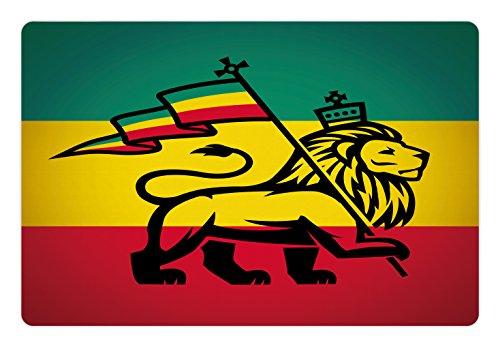 Matte für Futter und Wasser, Juda Löwe mit King Jungle Reggae Rastafari Flagge Thema Kunstdruck, Rechteck Rutschfeste Gummimatte für Hunde und Katzen, Schwarz Grün Gelb und Rot ()
