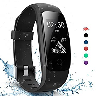 AngelaKerry Slim Touch Wasserdicht Fitness Tracker Mit Herzfrequenz,Smart Fitness Armbanduhr Pulsuhr Schrittzähler,Bluetooth Schwimmen Activity Tracker Gps Für Herren/Damen (Schwarz )