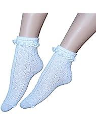 Calcetines de las niñas blancas de algodón escolares ¾ de la longitud de la rodilla alta pointelle