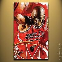 NBA Michael Jordan originale decorazione da parete Artista firmato pittura poster Stampa Su Tela # 2, Tela, 14