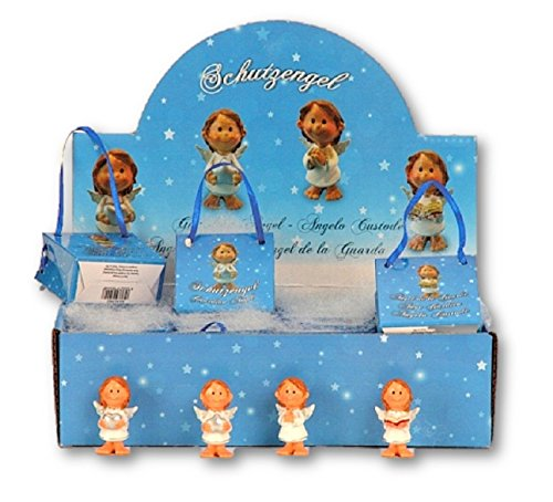 Tolles Display mit 24 Engel Figuren in Flügel je in Geschenktütchen Schutzengel Antik Gold Putte Hochzeit Taufe Geburt Weihnachten Angel Deko Gebet Andenken Gardian Angel -