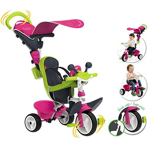 #0618 Dreirad für Kinder ab 10 Monaten, mit Sonnendach, Flüsterrädern, Tasche • Kinderdreirad Kinderfahrzeug Flüsterräder Schubstange Baby