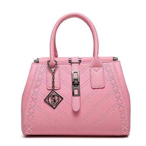 Wewod Mode Einfarbig Kunstleder Damen Handtasche Umhängetasche Henkeltasche Citytasche für Mädchen Rosa