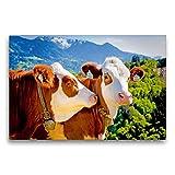Premium Textil-Leinwand 75 x 50 cm Quer-Format Zwei hübsche rot-weiße Kühe in den Bergen | Wandbild, HD-Bild auf Keilrahmen, Fertigbild auf hochwertigem Vlies, Leinwanddruck von CALVENDO