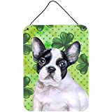 "Caroline's Treasures French Bulldog Black White St Patrick's Metal Print, 16"" X 12"", Multicolor"