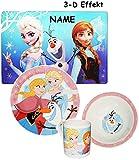 4 TLG. Geschirrset -  Disney die Eiskönigin - Frozen  - incl. Name - Porzellan - Kindergeschirr / Trinktasse + Teller + Müslischale + Unterlage - für Kinder..