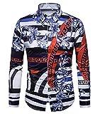 Versaces Männer Hemd Freizeit Palast Wind Digital Gestreifter Druck Lange Ärmel Hemd, Black Blue, XL