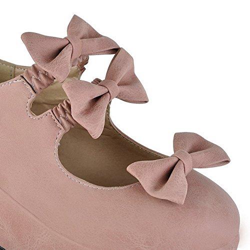 Légeres à VogueZone009 Femme Rose Couleur Tire Talon Chaussures Correct Unie Rond BqpzBwTx