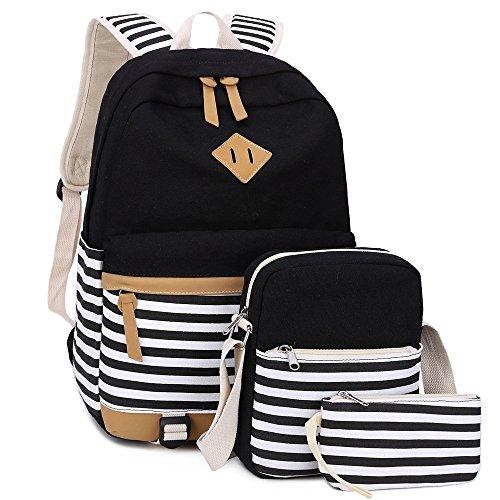 BLUBOON Teenager Canvas Schultaschen Set 3 Teile (Schwarz-Streifen)