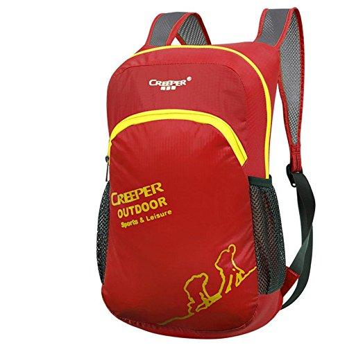 ROBAG Outdoor-klappbare Pack Haut Pack Ultralight Rucksack Rucksack wasserdicht Nylon Männer und Frauen camping Tasche red
