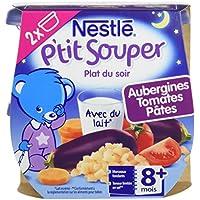 Nestlé Bébé P'tit Souper Aubergines Tomates Ptes dès 8 mois 2 x 200g - Lot de 8