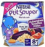 Nestlé Bébé P'tit Souper Aubergines Tomates Pâtes dès 8 mois 2 x 200g - Lot de 8