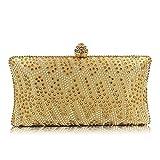 FFLLAS Satin Hot Bohrsack Fashion Abendtasche Set Diamond Handtasche Party Girl Bag Brautkleider Beutel,Gold