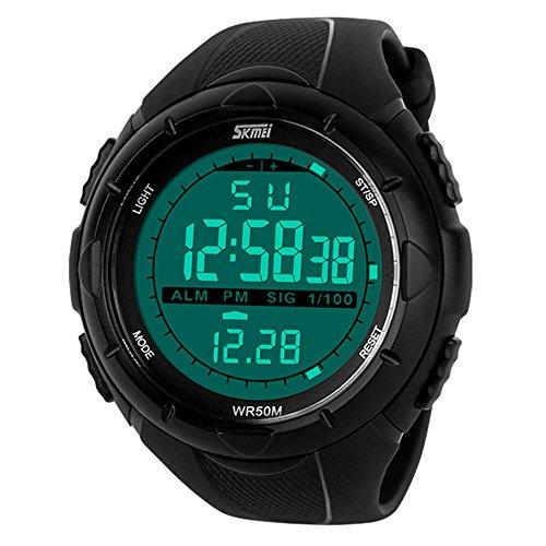 Skmei Reloj deportivo para hombre, pantalla digital LED, resistente al agua, color negro
