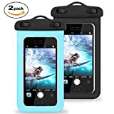 Boîtier étanche universel avec Touch ID Fingerprint, CellPhone sac étanche Phone Pouch pour iPhone X / 8/8 Plus / 7/7 Plus / 6S / 6 / 6S Plus / SE / 5S, Samsung Galaxy S8 / S8 Plus / Note 8 6 5 4 , Google Pixel 2 HTC LG Sony MOTO jusqu'à 6.0' (Paquet de 2 - Bleu + Noir)