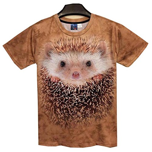 Moda Primavera Verano Hombre/Mujer Camiseta 3D Divertido Erizo Impresos Tees Superior Tshirt Camiseta Ropa Masculina