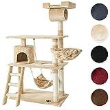 TecTake Tiragraffi per gatto gatti gioco albero 141 cm con amaca beige