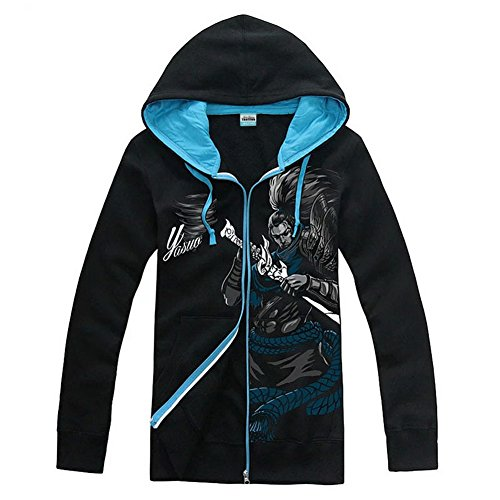 Of League Legends Kostüm - LOL Hoodie Cosplay League Spiel Kostüm Jacke Herren Yasuo Thresh Zip Sweatshirt Kleidung