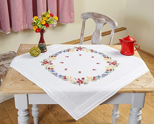 Kamaca - set per ricamo a punto croce, motivo floreale, 80 x 80 cm, in 100% cotone, pronta all'uso, alta qualità
