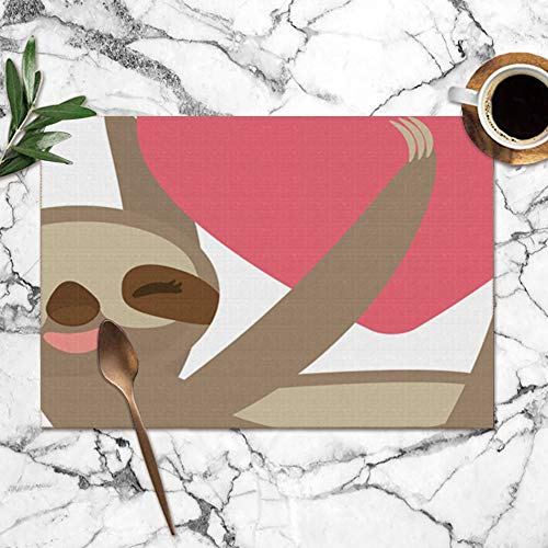 Card Design Cute Kawaii Threetoed Sloth Animals Wildlife Nature Washable Placemats for Dining Table Double Fabric Printing Polyester Place Mats for Kitchen Table Set of 6 Table Mat 12'x18'