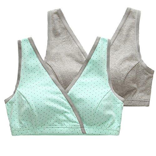 Soutien-gorge d'allaitement, KUCI® Maternité Allaitement Sommeil Soutien-gorge pour Femmes Green/Grey