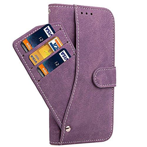 EKINHUI Case Cover Mattes PU-Leder-Etui, Magnetisches Bookstyle-Folio-Stand-Shell-Cover mit abnehmbaren Karten-Aufbewahrung für iPhone X ( Color : Rose ) Purple
