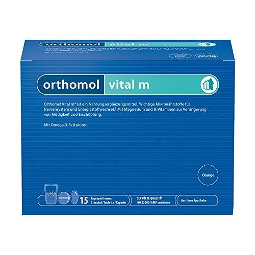 Orthomol vital m 15er Granulat, Tablette & Kapseln, Orange - Vitamin Komplex für Männer bei Müdigkeit & Erschöpfung