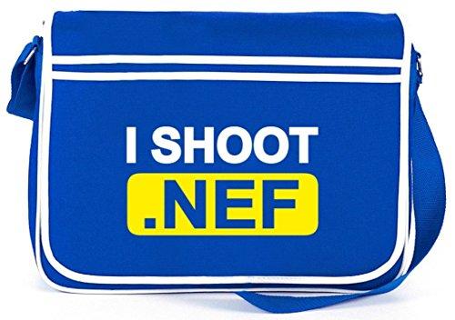 Shirtstreet24, I Shoot NEF, Kamera Camera Retro Messenger Bag Kuriertasche Umhängetasche Royal Blau