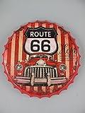 TD Blechschild Retro Kronkorken mit Auto Motiv Route 66 USA Nostalgie Wand-Deko 42x4 cm