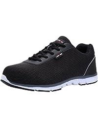 Zapatillas de Seguridad Mujer, LM-30, Zapatos de Trabajo con Punta de Acero Ultra Liviano Suave y cómodo Transpirable (45 EU, SB Negro)