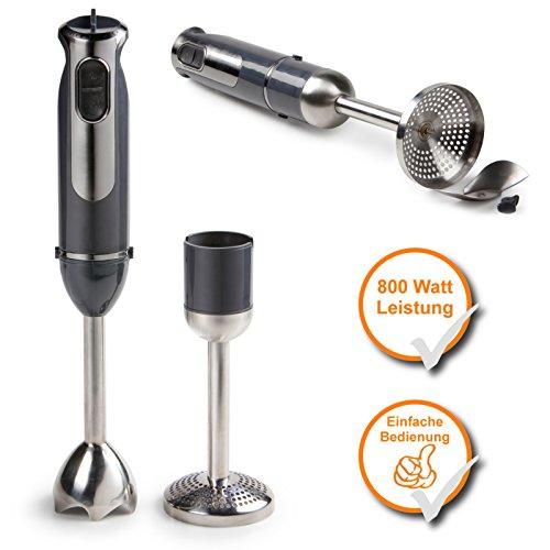 Stabmixer + Kartoffelstampfer, Turbo-Mixer-Set mit starken 800Watt, Soft-Touch Handgriff, anthrazit